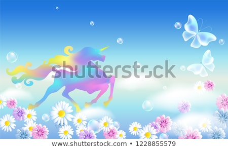 Galloping Unicorn Clouds Sky Luxurious Winding Stock Vector