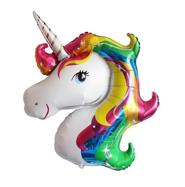 Giant Rainbow Unicorn Head Foil Balloon Childens Party Baby Shower