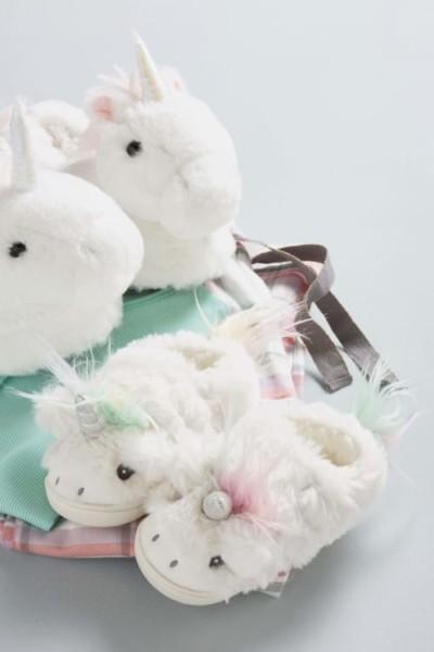 Girls Next White Unicorn Hardsole Slippers (younger)