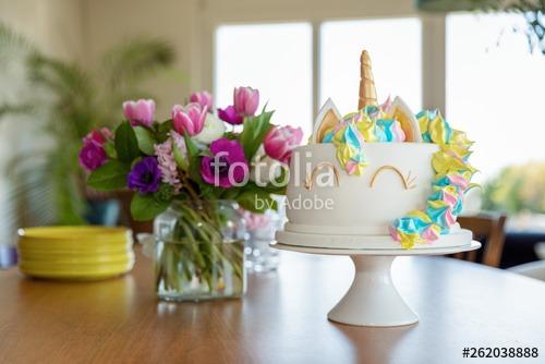 Homemade Unicorn Cake  Stock Photo And Royalty