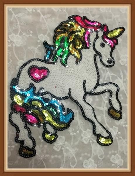 Horse Sequined Patch Large Sequin Horse Unicorn Applique Patch