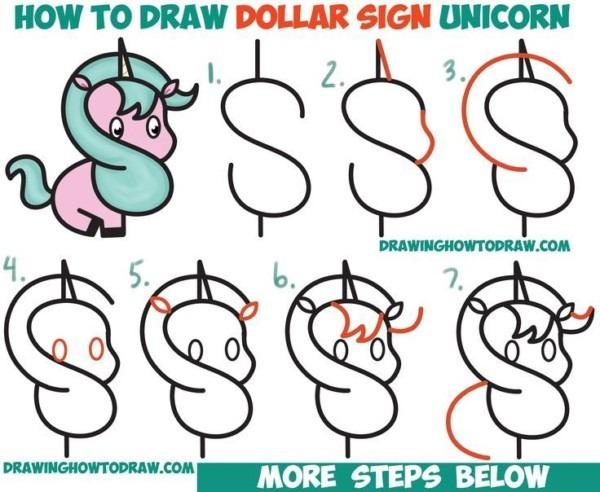 How To Draw A Cute Cartoon Unicorn (kawaii) From A Dollar Sign