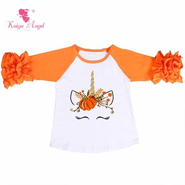 Kaiya Angel Halloween Unicorn Pumpkin Ruffle Raglan Shirts Summer
