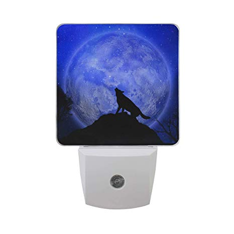 Led Night Light With Halloween Wolf Howling Moon Background Plug