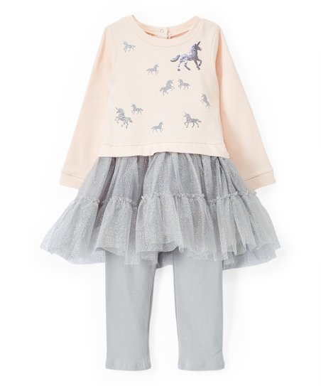 Limited Too Pink & Silver Unicorn Dress & Leggings