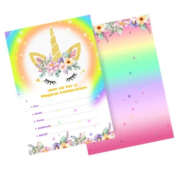 Meri Meri Unicorn Invitations & Envelopes 10 Card Envelope Count