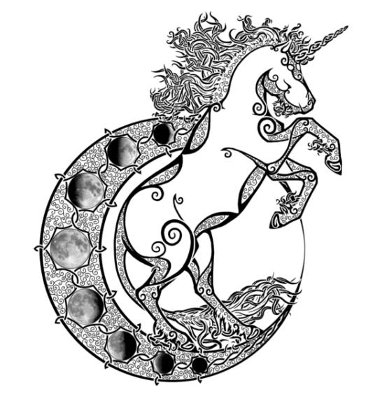 Moon W Unicorn Outline Fin Black And White