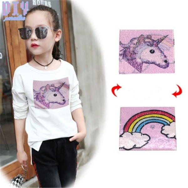 New Rainbow Unicorn Reverse Sequins Sew On Patches For Clothes