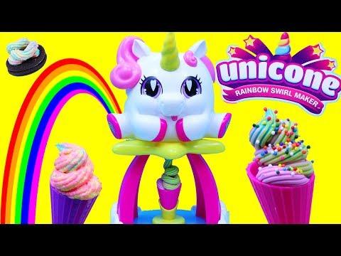 New Unicorn Ice Cream Swirl Maker Toy Playset With Rainbow