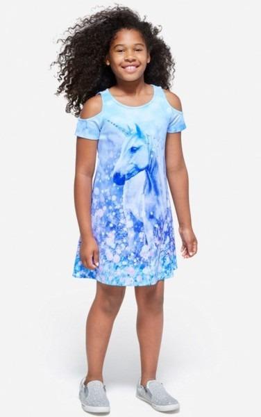 Nwt Girls Justice Cold Shoulder Scuba Unicorn Dress Blue 8 10 M