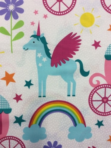 Pegasus Unicorns Rainbows Flowers Stars Sunshine Cotton Fabric