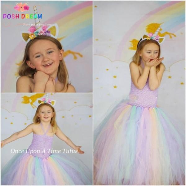 Posh Dream Pastel Unicorn Dress For Kids Girls Rainbow Dreamy