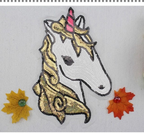 Pt003 Free Shipping Horse Sequined Patch Large Sequin Horse