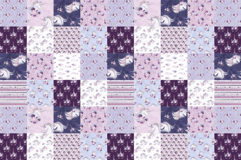 Purple Unicorn Cheater Quilt Wallpaper