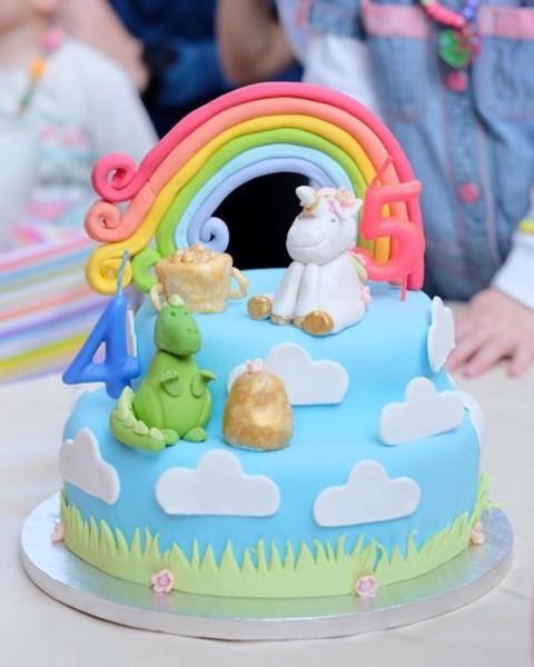 Rainbow Unicorn Dinosaur Cake