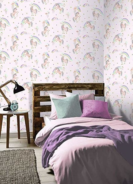 Rainbow Unicorn Glitter Wallpaper Pink Arthouse 696108
