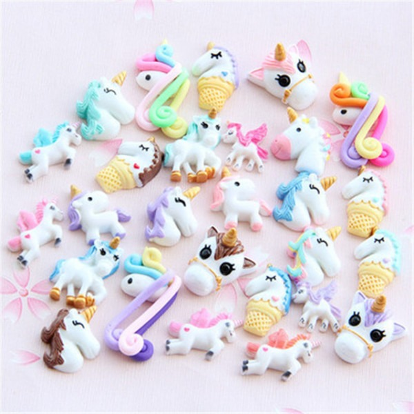 Random 30pcs Set Unicorn Clear Fluffy Polymer Slime Box Toys For
