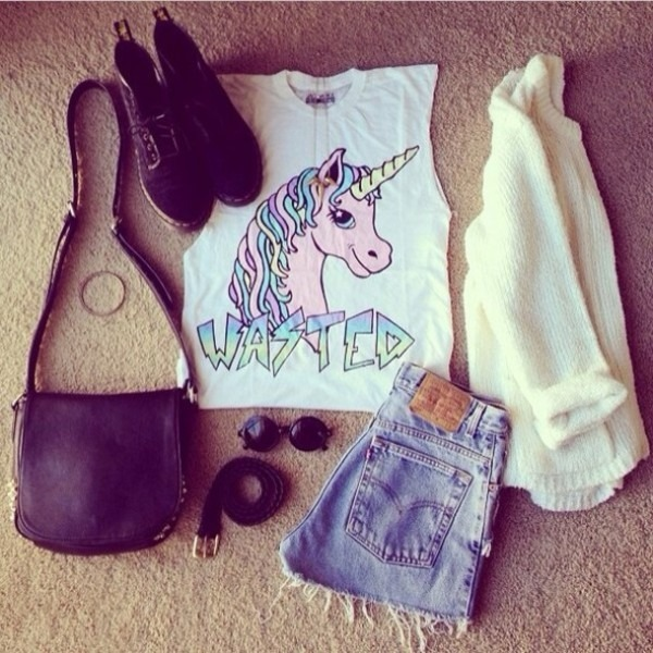 Shirt, Crop Tops, Top, Unicorn, Levi's, Shorts, Shoes, Fantasy