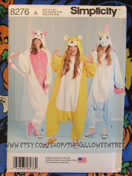 Simplicity 8276 Kigurumi Costume Pattern Unicorn Kitten Bear All