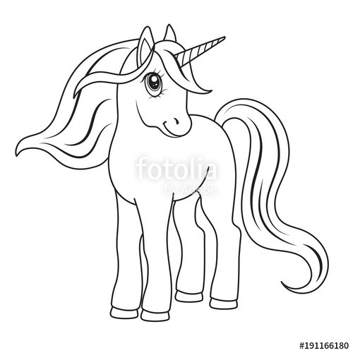Sketch Of A Unicorn For Coloring, On A White Background   Stock