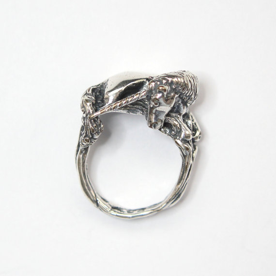 Sleeping Unicorn Ring In Solid White Bronze With Sterling Silver