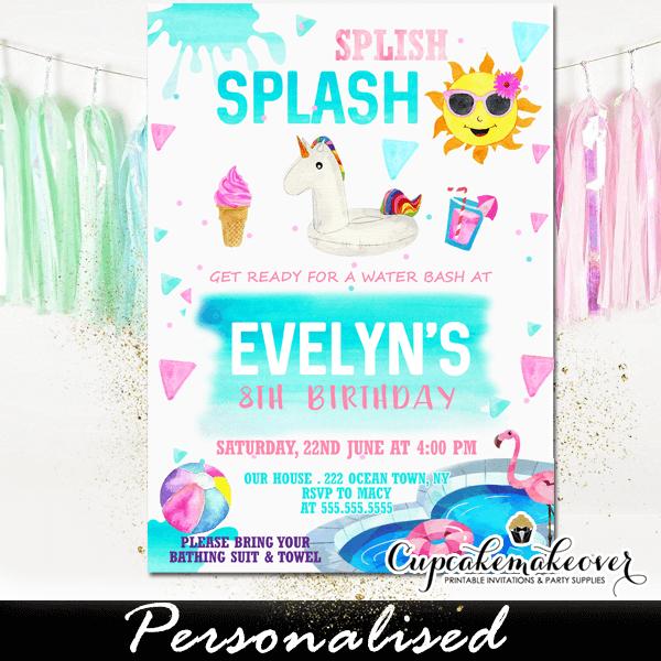 Splish Splash Unicorn Pool Party Invitations Girls