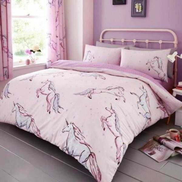 Star Unicorn Single Duvet Cover Set Reversible Bedding Pink Girls