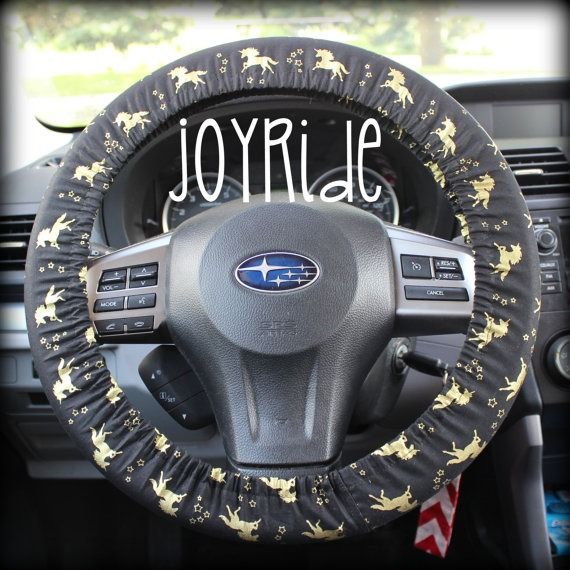 Steering Wheel Cover Gold Unicorn Mystical Magical Uni With