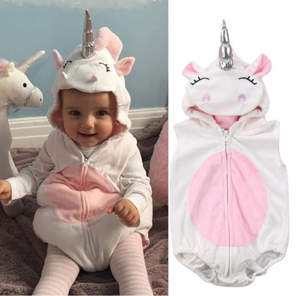 Toddler Newborn Unicorn Baby Girls Fleece Romper Jumpsuit Jumper