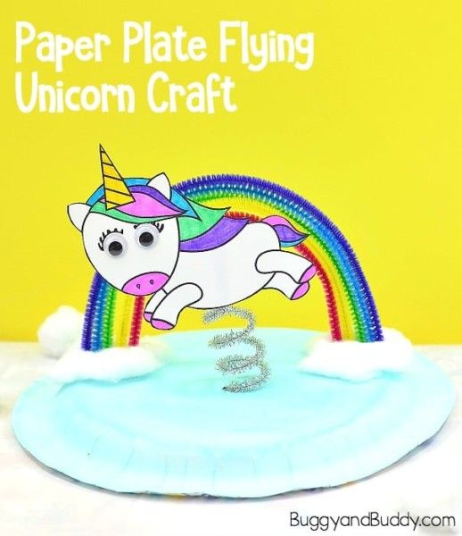 Unicorn And Rainbow Paper Plate Craft For Kids