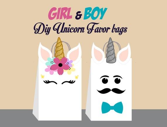 Unicorn Diy Favor Bag Template Unicorn Party Bags Printable