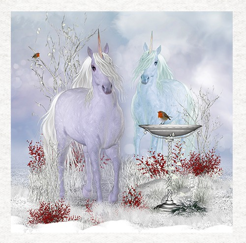 Unicorn Duo With Robins , Quality Fabric Cushion Upholstery Craft
