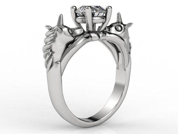 Unicorn Engagement Ring, Geek Engagement Ring, Fantasy Engagement
