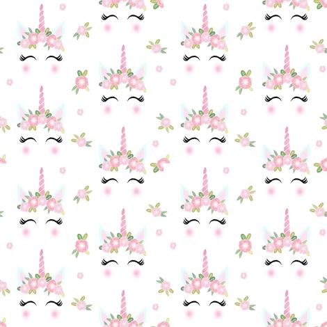 Unicorn Face Floral Unicorn Quilt Nursery Fabric White Wallpaper