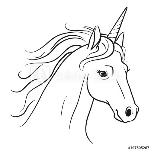 Unicorn Head With Flowing Mane Hand Drawn Black And White Pen And