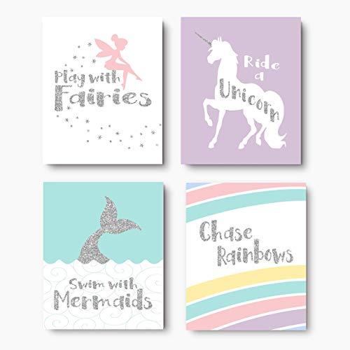 Unicorn Mermaid Fairy Rainbow Picture Set, Play With Fairies Quote