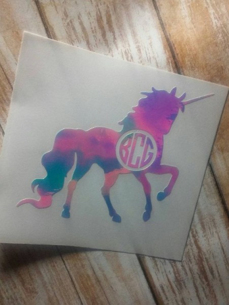 Unicorn Monogram Unicorn Decal Unicorn Sticker Yeti Cup Decal