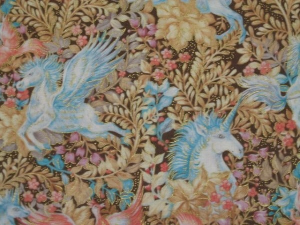 Unicorn Pegasus Horse Phoenix Bird Gilded Cotton Quilt Fabric 1 2