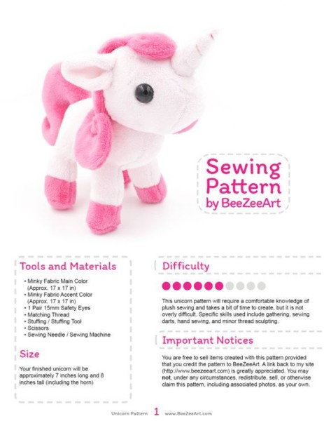 Unicorn Plush Sewing Pattern, Stuffed Animal Pattern, Plushie