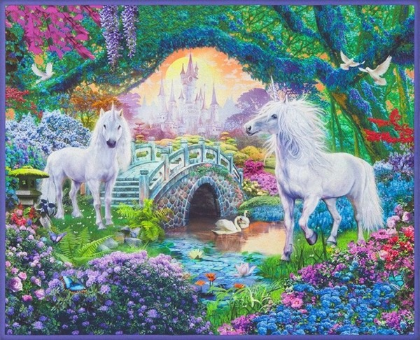 Unicorn Quilt Fabric Panel   36 X 44 Inch Picture This Fabric
