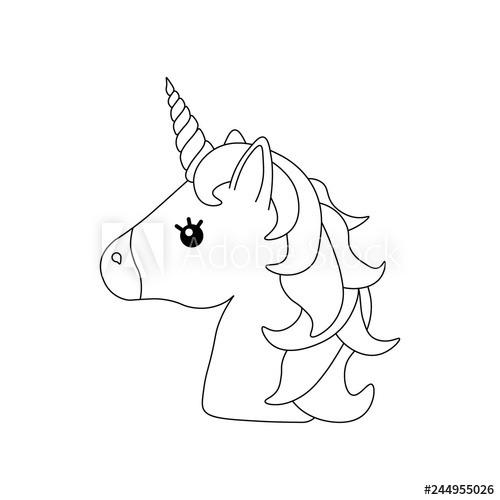 Unicorn Vector  Horse Head  Colored Book  Black And White Sticker