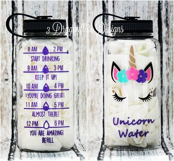 Unicorn Water, Unicorn Lover, Water Bottle, Water Intake Tracker