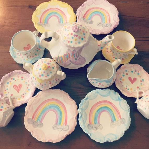 Unicorns & Rainbows Tea Set Personalized For Little Girls