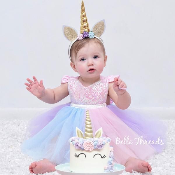 Whimsy Unicorn Dress Sparkle Romper Pastel Tutu Birthday Outfit