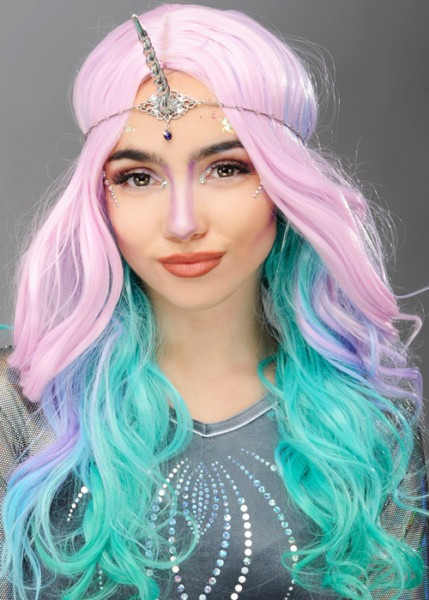 Womens Deluxe Pastel Rainbow Unicorn Wig And Horn