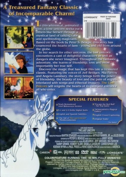 Yesasia  The Last Unicorn (dvd) (25th Anniversary Edition) (us