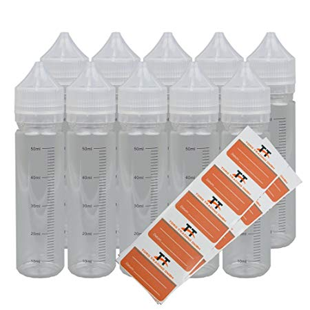 10 X 60ml Bottles Or Unicorn Bottle With Scale 10 Labels