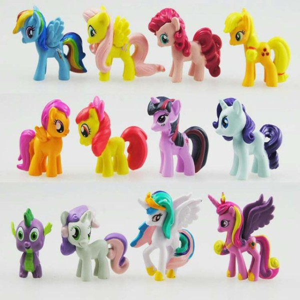 12 Pcs Set 4 5cm Earth Ponies Unicorn Pegasus Alicorn Bat Horse