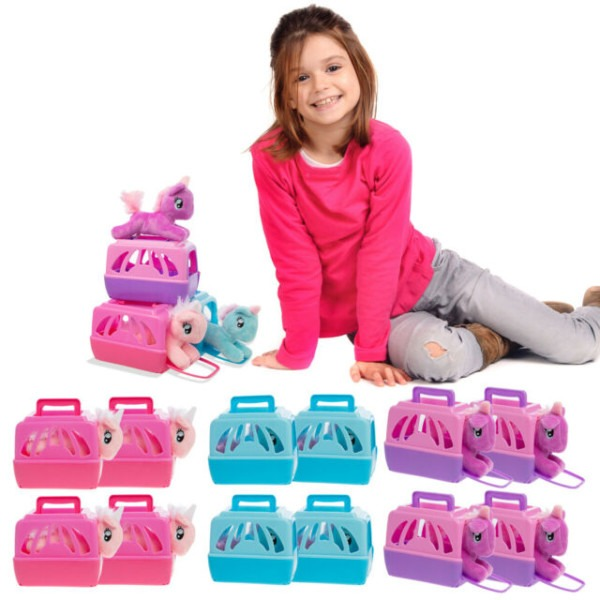 12pk Unicorn Stuffed Animals And Pet Carrier Bulk Toy Party