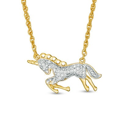 1 15 Ct  T W  Diamond Bowing Unicorn Necklace In Sterling Silver